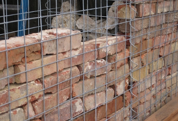 Brick Wall Behind Gabion ...