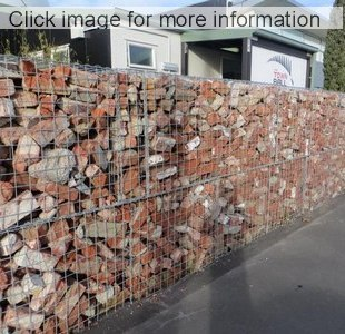 ... Recyled Brick Gabion Wall With Rubble