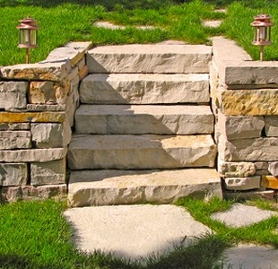 dry rock retaining walls and steps sand stone dry wall construction - Rock Wall Design