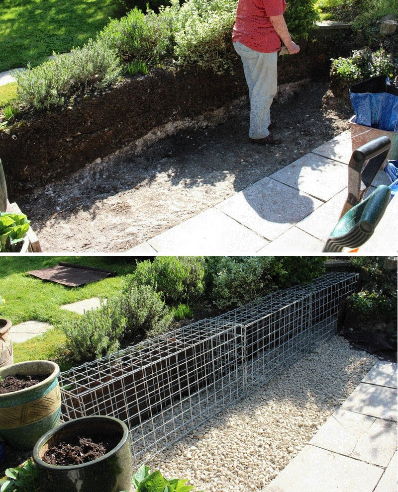 small gabion wall foundation