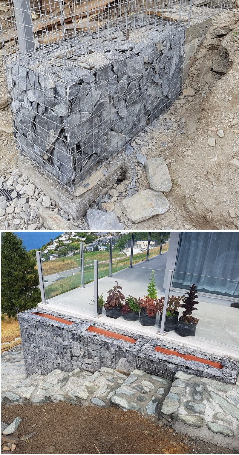 stepped concrete gabion foundation